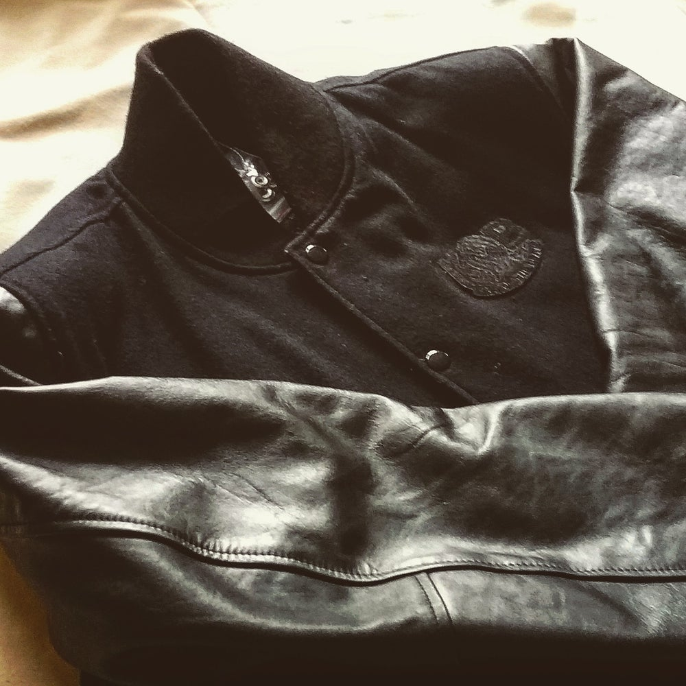 Image of KING OF THE BEATS RECORDS - LABEL LEATHER  BOMBER JACKET