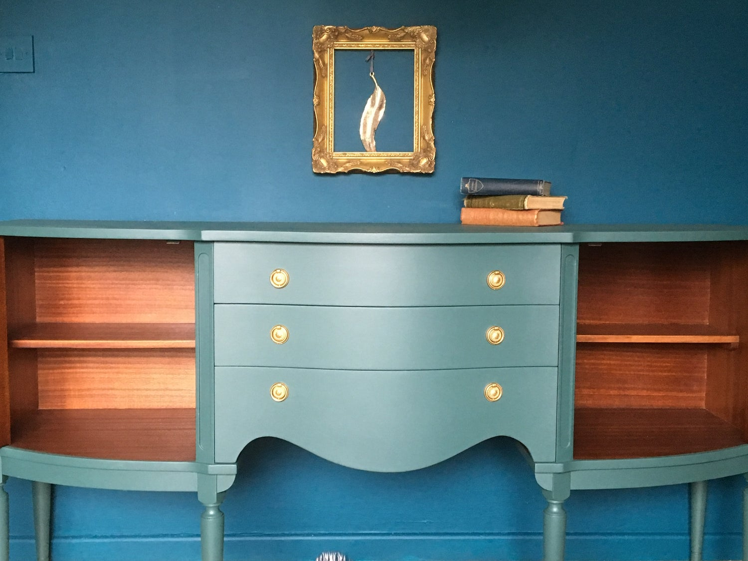 Image of Green wooden sideboard