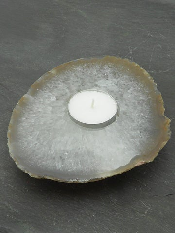 Image of AGATE SLICE TEALIGHT HOLDER Natural