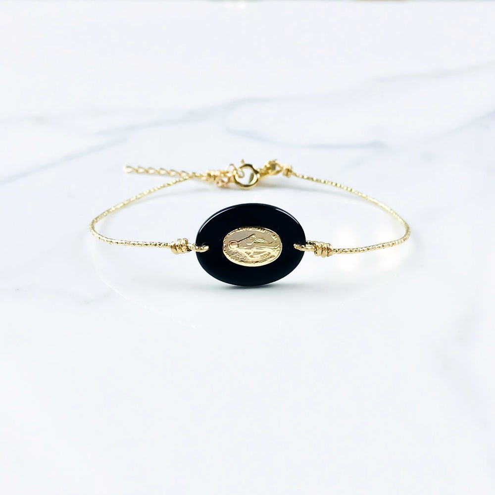 Image of Jonc Madone - Gold Filled - Onyx