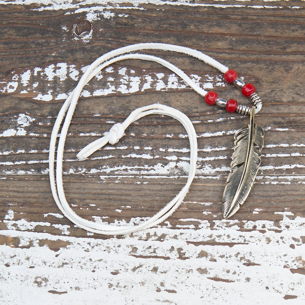 Image of Necklace silver feather big