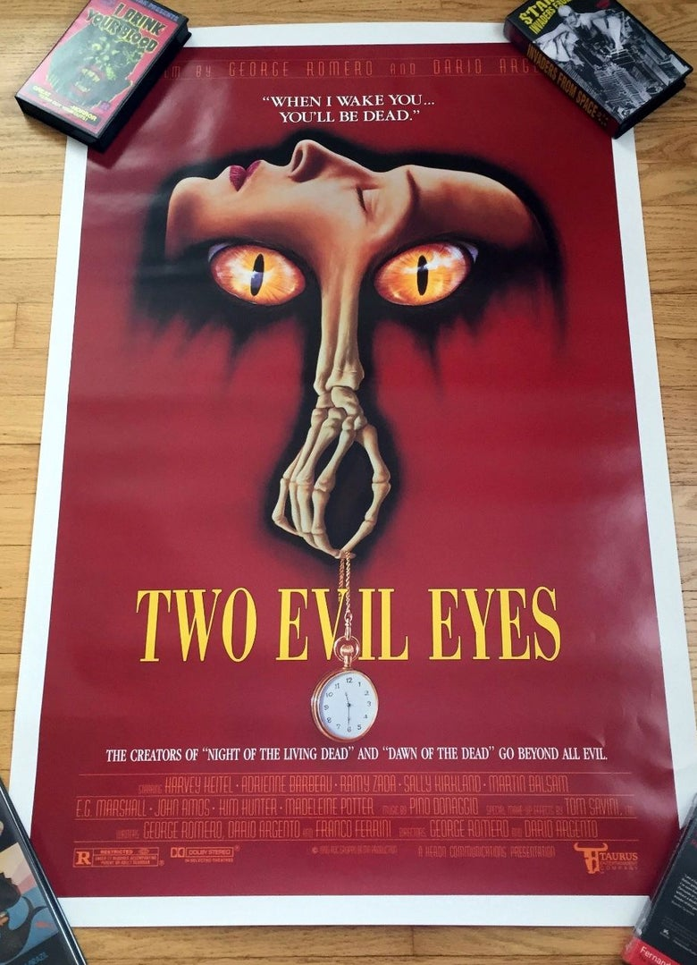 Image of 1990 TWO EVIL EYES Original U.S. One Sheet Horror Movie Poster