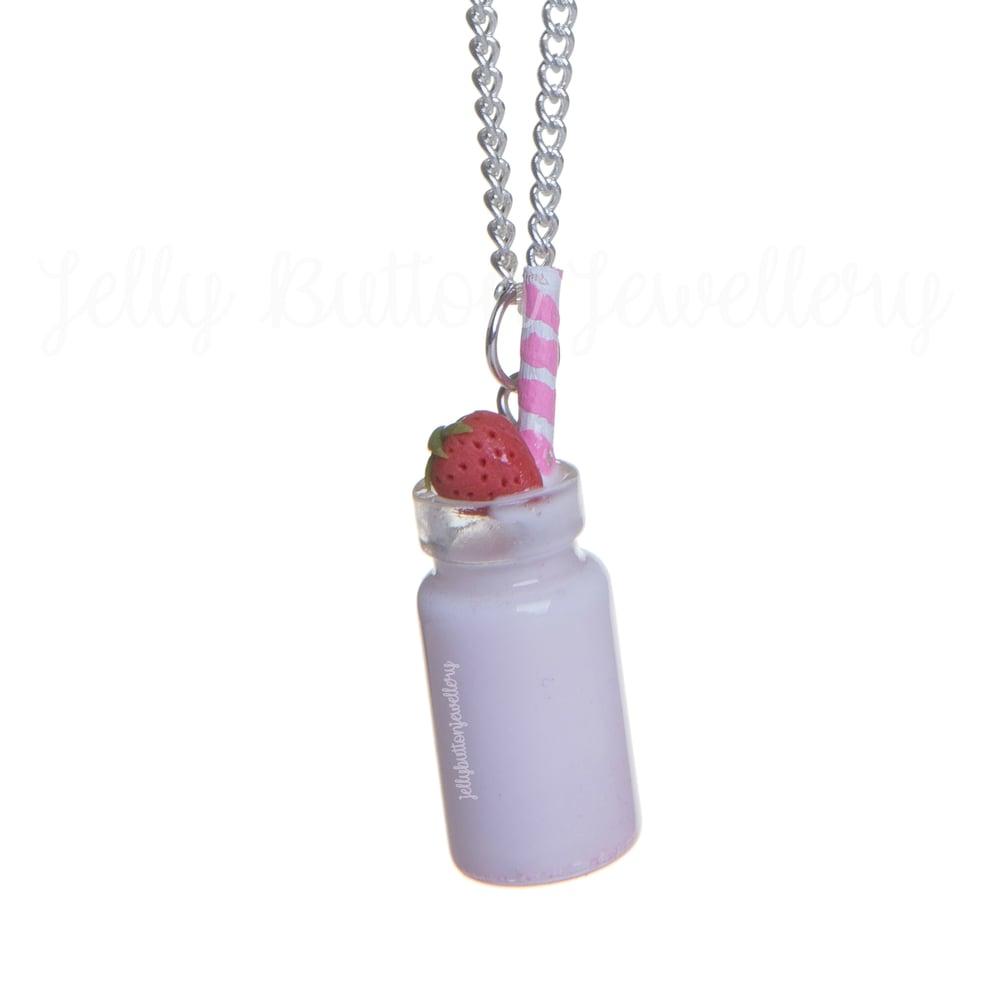 Image of Strawberry Milkshake Bottle Necklace