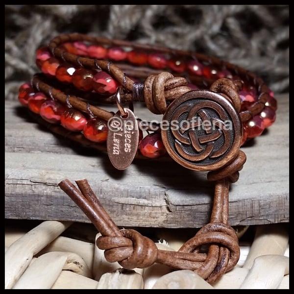 Image of Triple Wrap Bracelet - Celtic Red