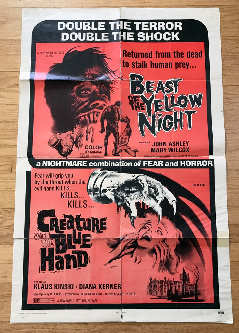 Image of 1971 BEAST OF THE YELLOW NIGHT/ CREATURE WITH THE BLUE HAND Original U.S. One Sheet Movie Poster