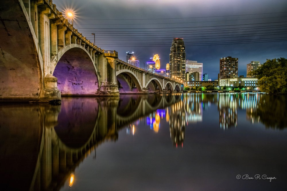Image of Minneapolis Third Avenue Bridge at Night