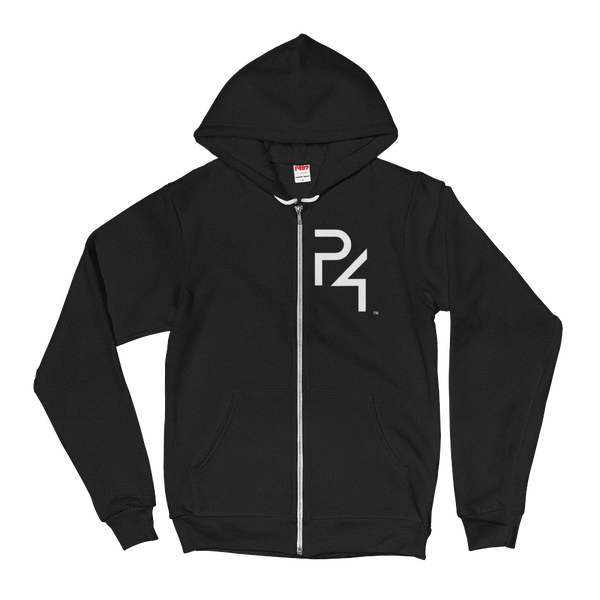 e9810653b Image of Women's black hoodie, white P4 and words on the back.