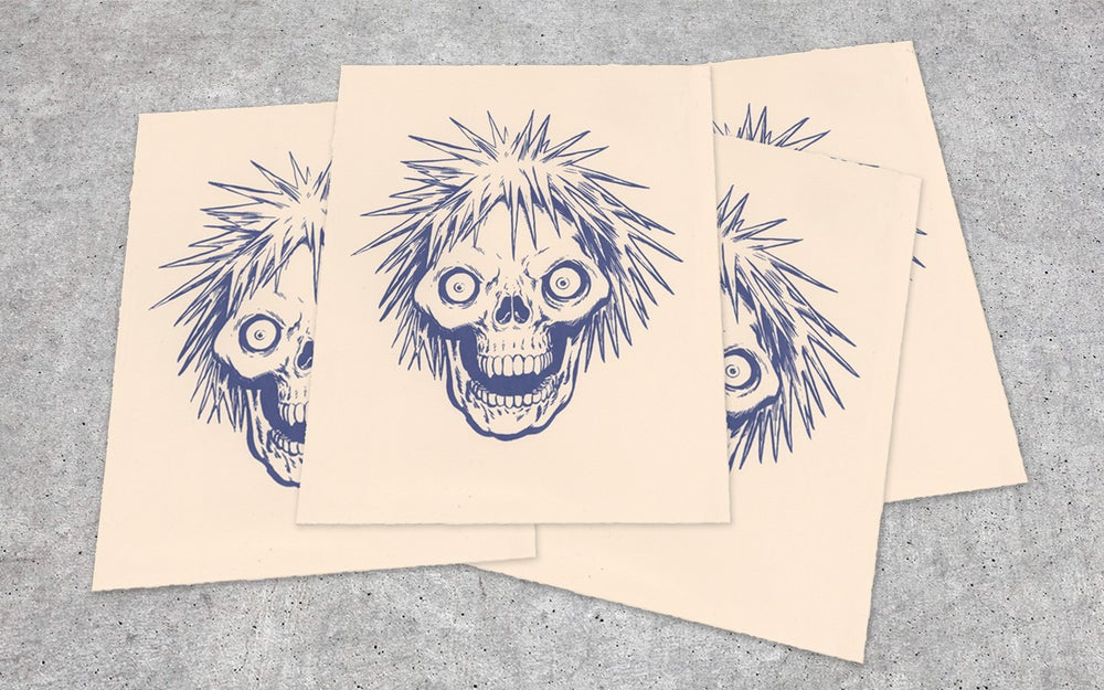 Image of Charged Hair Skull Screen Print