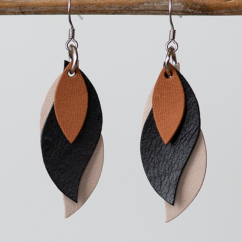 Image of Handmade Kangaroo leather leaf earrings - brown, black, beige [LBB-021]
