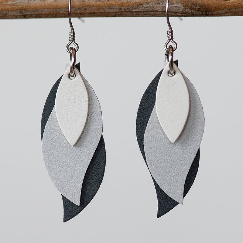 Image of Handmade Kangaroo leather leaf earrings - Warm white and greys [LGY-190]