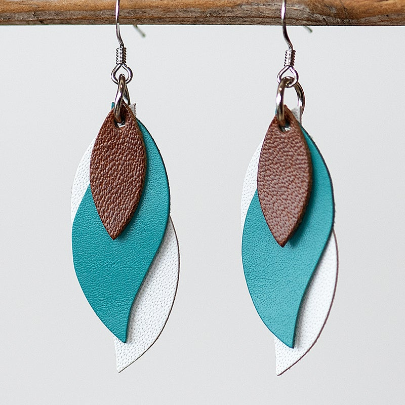 Image of Handmade Kangaroo leather leaf earrings - Brown, teal and white [LTG-019]