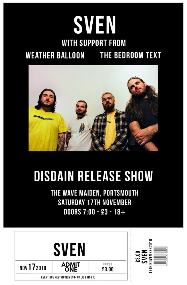 Image of 'Disdain' Release Show Ticket @ The Wave Maiden, Portsmouth
