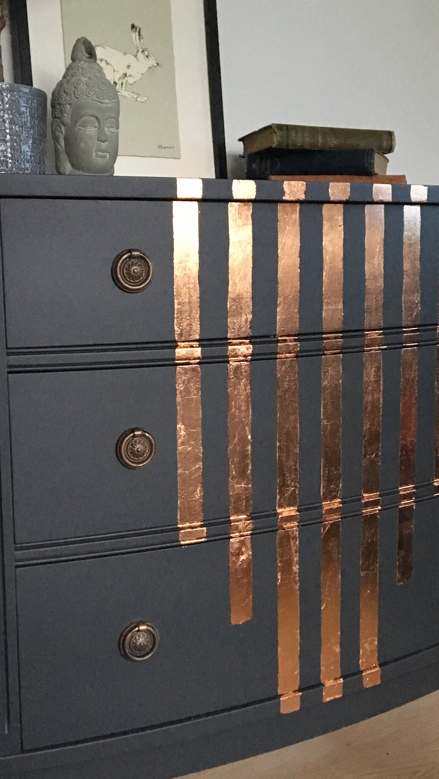 Image of Dark grey & copper leaf half moon sideboard