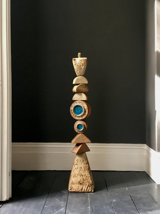 Image of Bernard Rooke Studio Ceramic Totem Floor Lamp, England 1960s