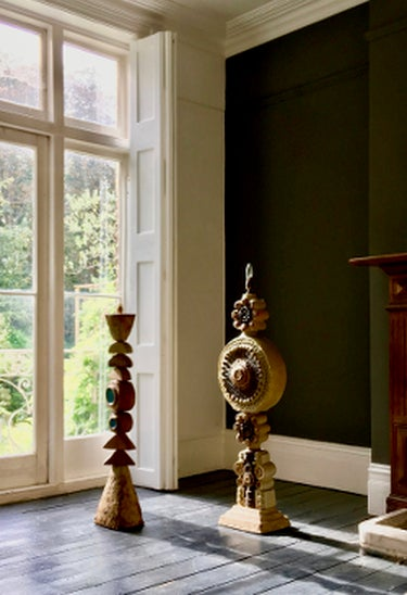 Image of Bernard Rooke Studio Ceramic Totem Floor Lamp with Pierced Detail