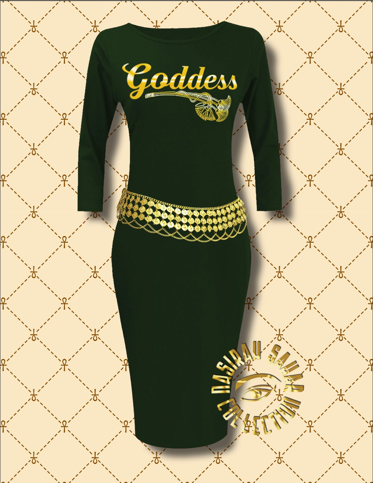 Image of NASIRAH SAHAR COLLECTION® GODDESS LONG SLEEVE BODYCON DRESS