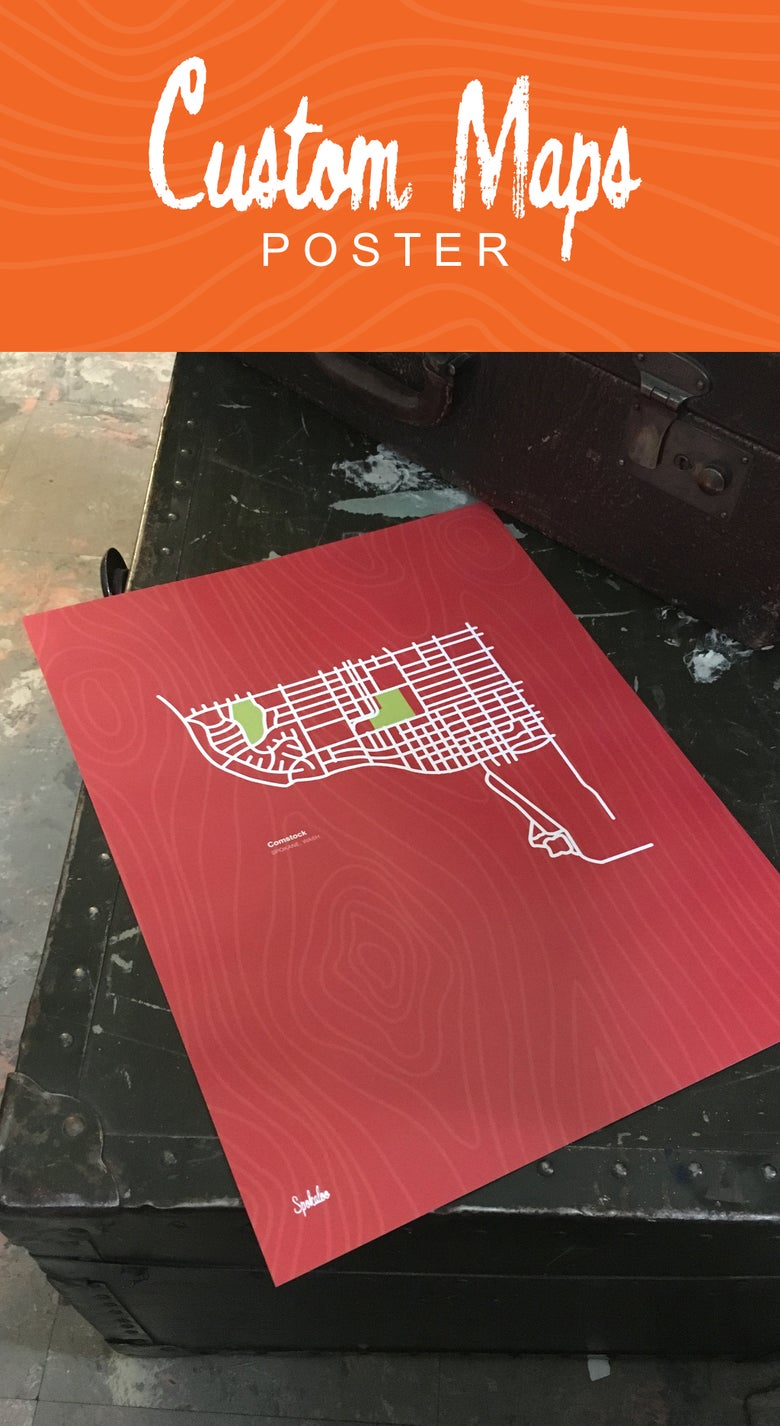 Image of 11 x 14 Custom Maps - Cardstock Poster