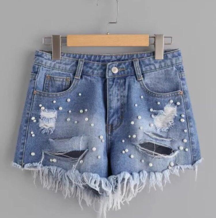 Image of Sasha pearl beading shorts