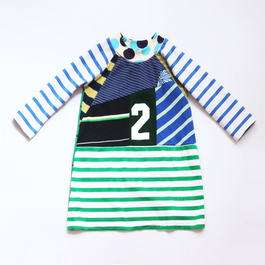 Image of two much 2T superstripe superpieced stripe blue green 2 2nd second birthday bday party long sleeve