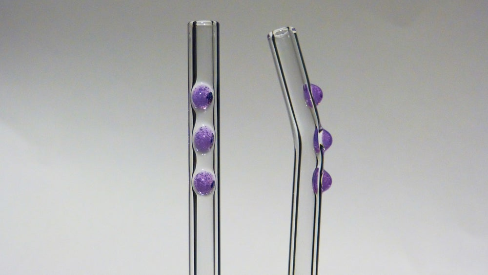 Image of Clear Glass Straws with Colored Dots