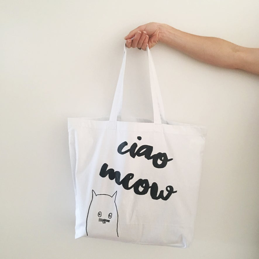 Image of 'Ciao Meow' premium cotton maxi tote