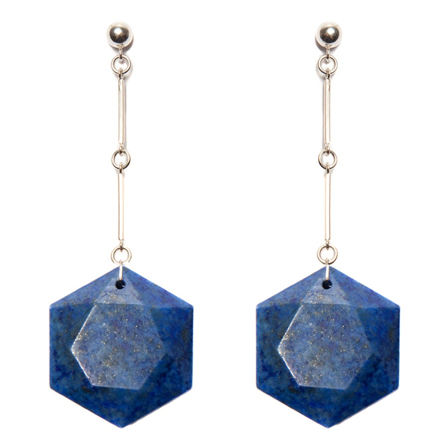 "Image of ""CODA"" Lapis Lazuli Hex Drop Earrings"
