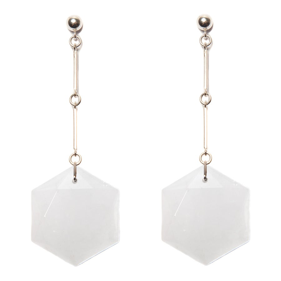 "Image of ""CODA"" Crystal Quartz Hex Drop Earrings"