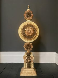 Image of Bernard Rooke Studio Ceramic Totem Floor Lamp with Pierced Detail, England, 1970s