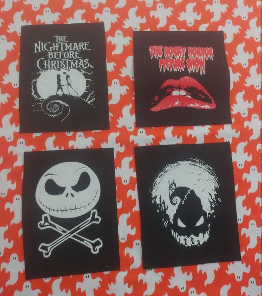 Image of Pick 1 patch - Nightmare Before Christmas Jack and Sally, Boogie Man, Jack and bones, rocky horror