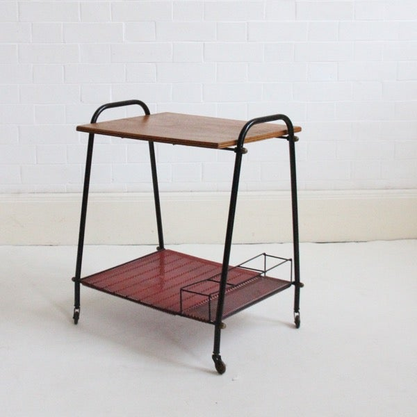 Image of Drinks trolley with red base.