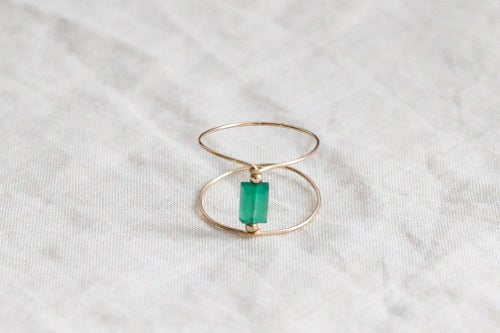 Image of Bague Meluna Double // Green Onyx