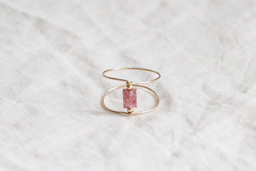 Image of Bague Meluna Double // Quartz Cheery