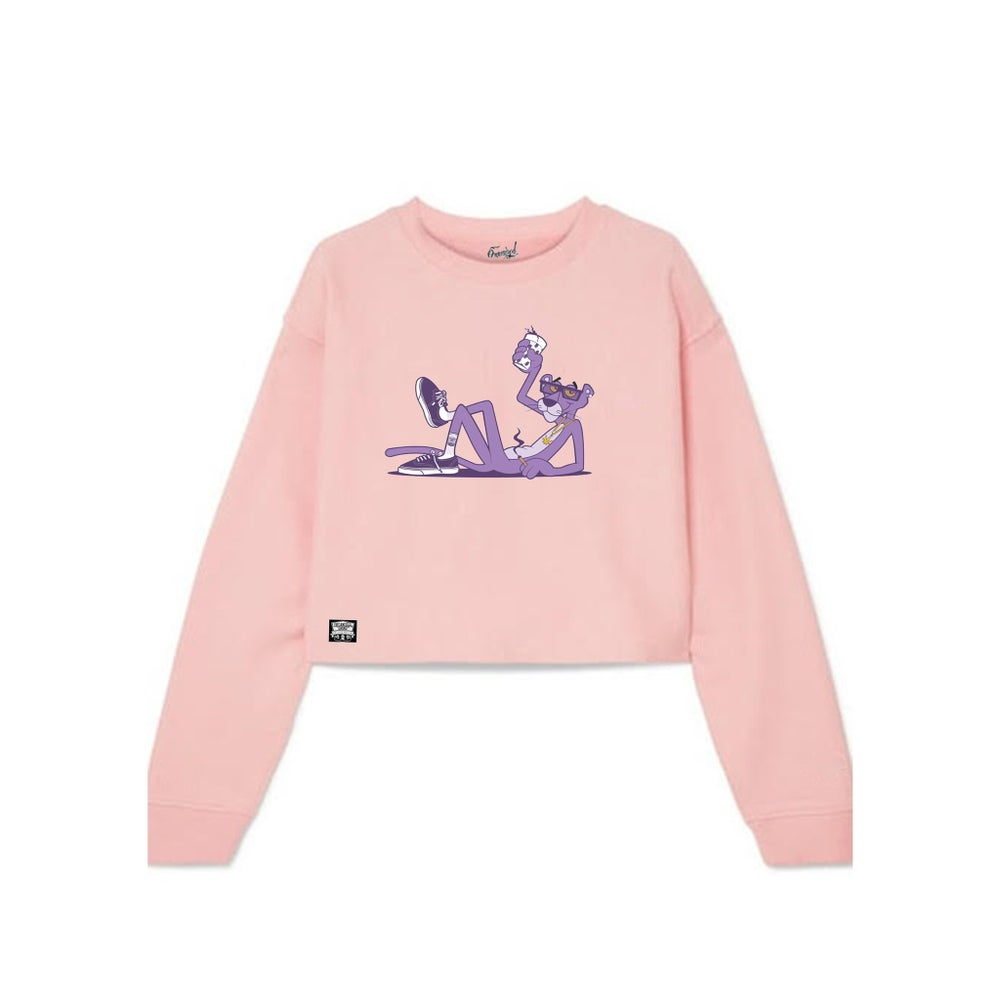Image of Woman's Purple Panther Crop Top Sweater
