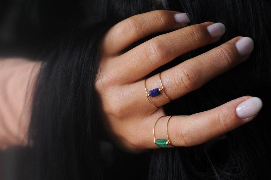Image of Bague Meluna Double // Lapis Lazuli