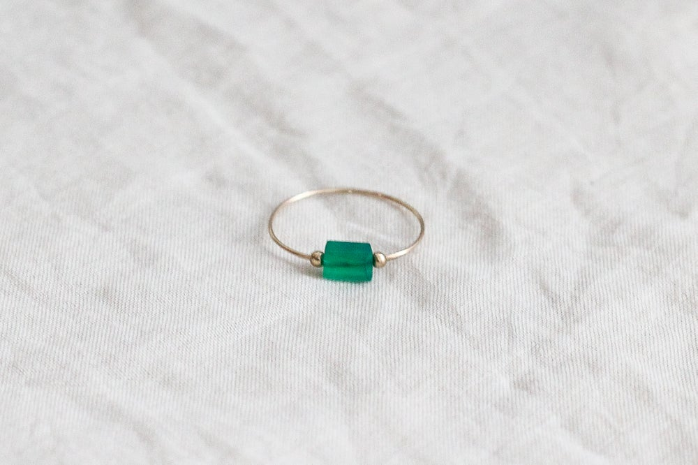 Image of Bague Meluna // Green Onyx