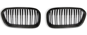 Image of CARBON FIBRE & ABS PLASTIC DOUBLE SLAT KIDNEY GRILLS FOR BMW 1 SERIES (LCI, 2015+)