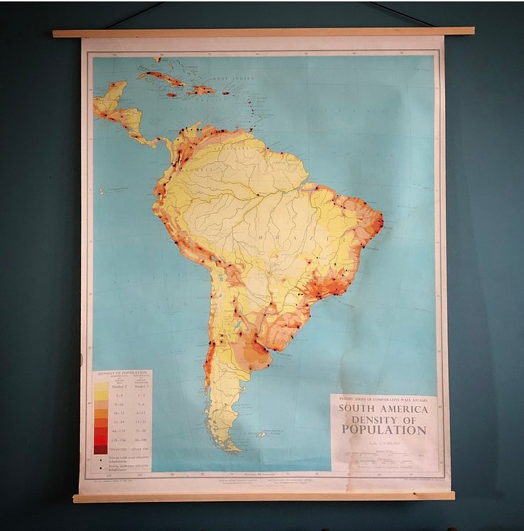 Vintage educational chart of South America