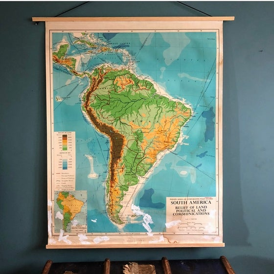 Image of Vintage educational chart/map f South America