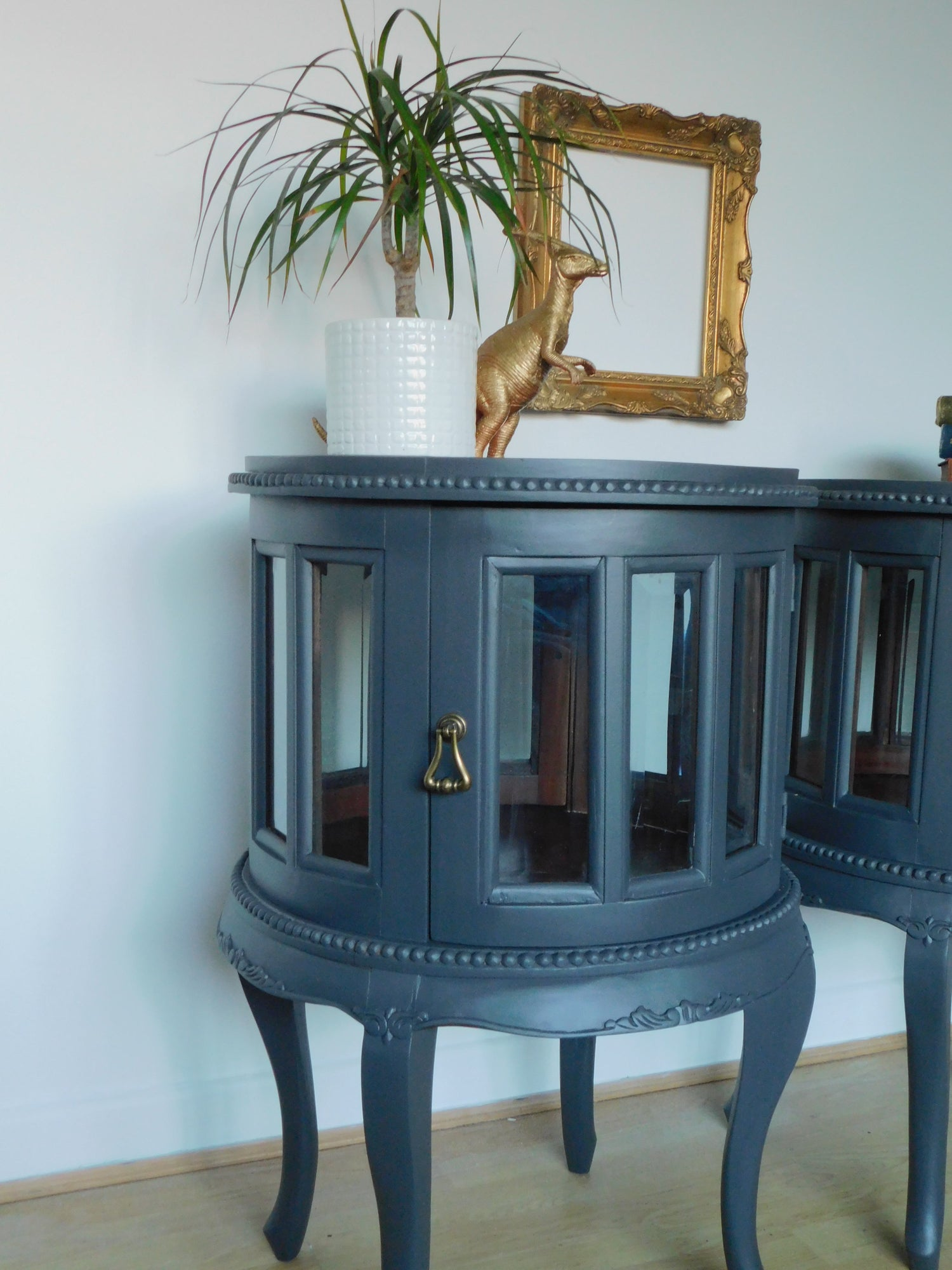 Image of Pair of Victorian dark grey bedside cabinets