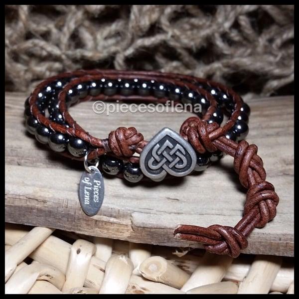 Image of Double Wrap Bracelet - Hematite Celtic Heart