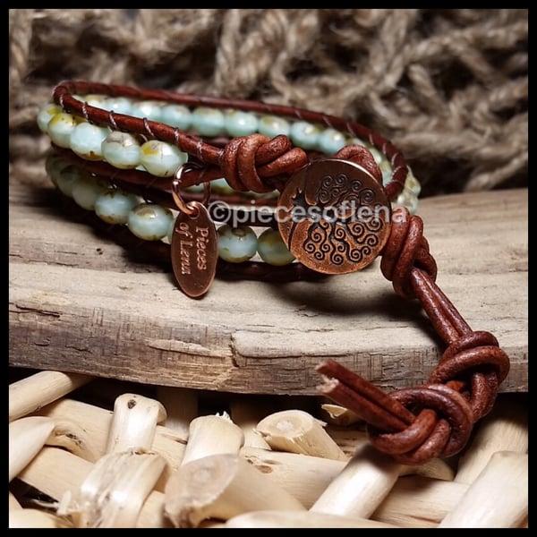 Image of Double Wrap Bracelet - Mint Copper Tree of Life