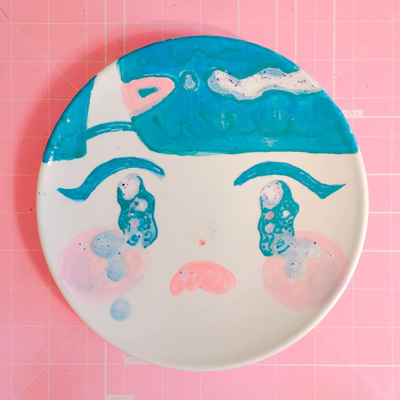 Image of CRYING GIRL (HAND PAINTED PLATE)
