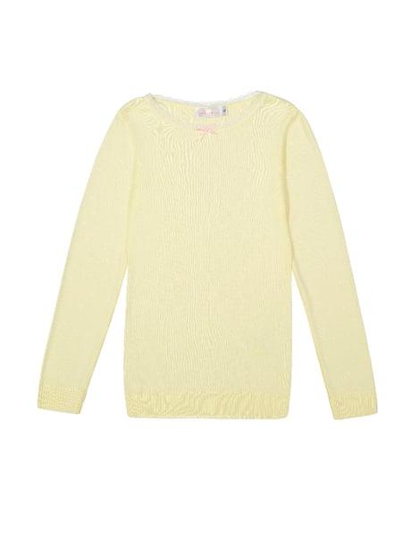 Image of Lemon yellow long sleeve crewneck top