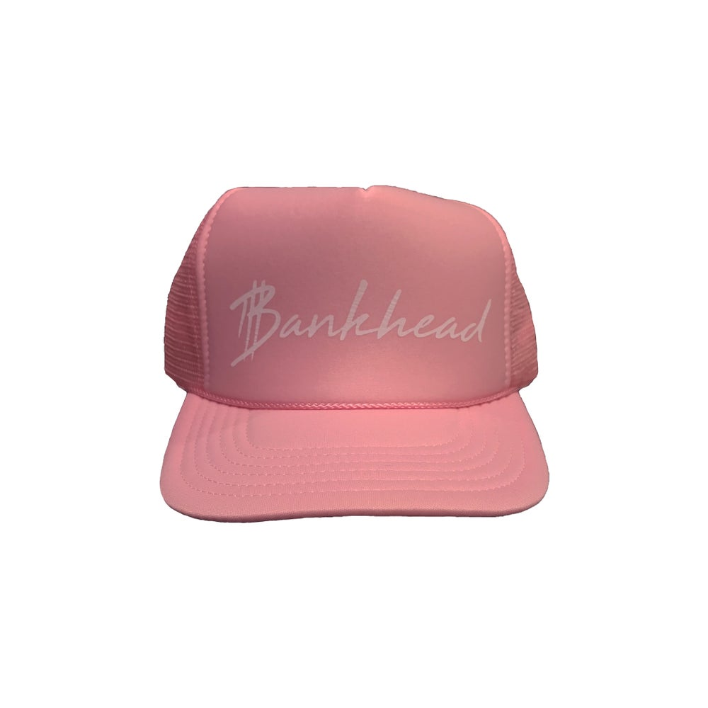 Image of Pink signature Bankhead trucker hat