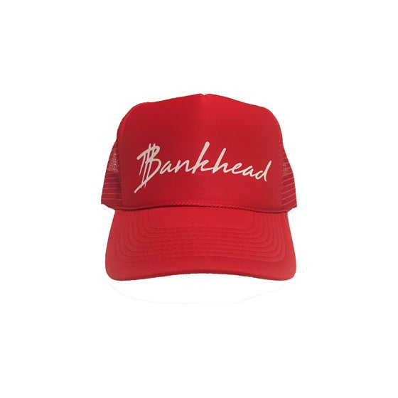 Image of Red signature Bankhead trucker hat