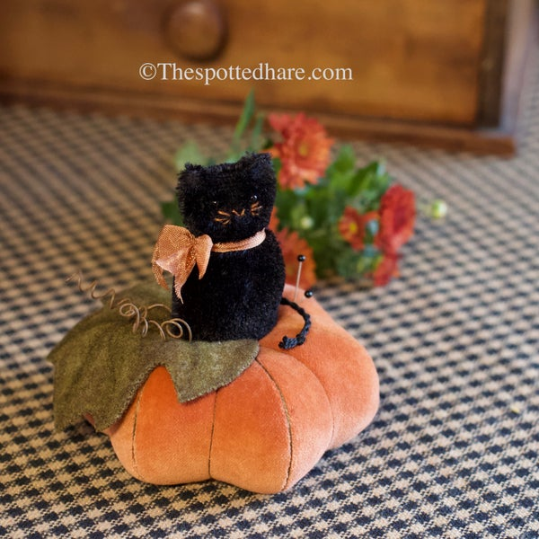 Image of KIT ~ Cat on a Hot Velvet Pumpkin