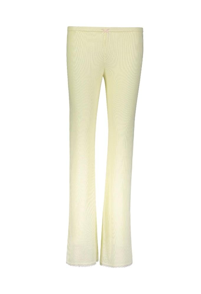 Image of Lemon yellow rib pant
