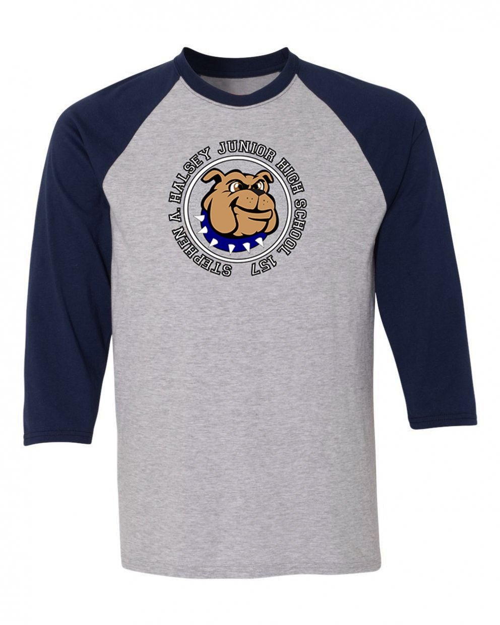 Image of HALSEY BULLDOGS COLORBLOCK BASEBALL TEE NAVY/GREY