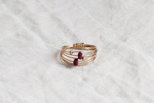 Image of Bague Wire // Red Saphire