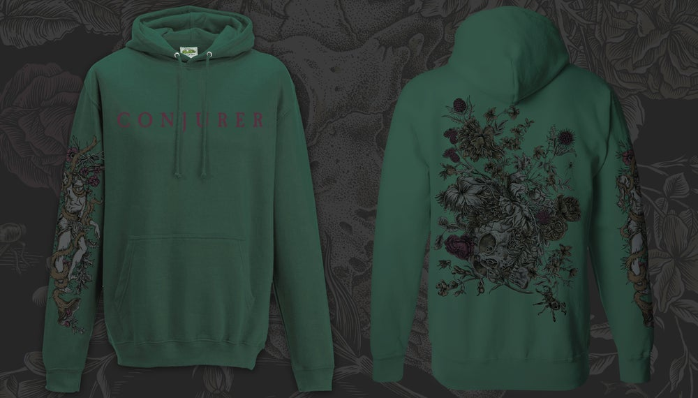 Image of 'Mire' Pullover Hoodie - Black / Grey / Green